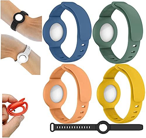 LUOWAN 4 correas de reloj para Airtags, correa de silicona ajustable para evitar que se pierda, especialmente para niños, hombres mayores (C)