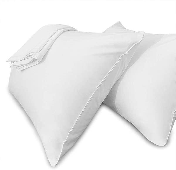 Precoco 枕套特大号 100 纯棉枕套带拉链隐藏式抗皱防褪色防污枕套方便护理 2 个装白色