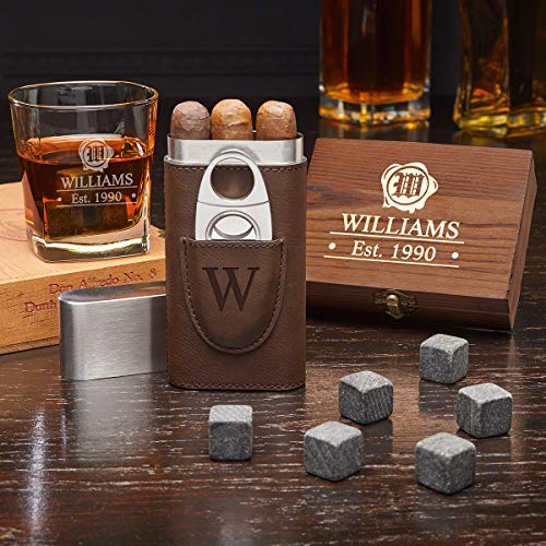 Suave Spirit Wax Seal Personalized Whiskey Gift Set with Cigar Case (Custom Product)