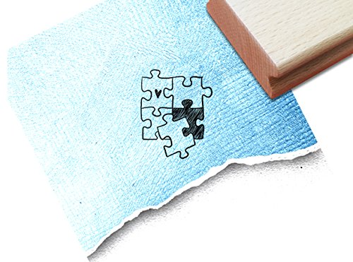 Stempel - Motivstempel PUZZLETEILE mit Herz ♥ (klein) - Zauberhafter Bildstempel für ganz persönliche Nachrichten - hübsch und zeitlos - von zAcheR-fineT (ca. 32 x 40 mm)