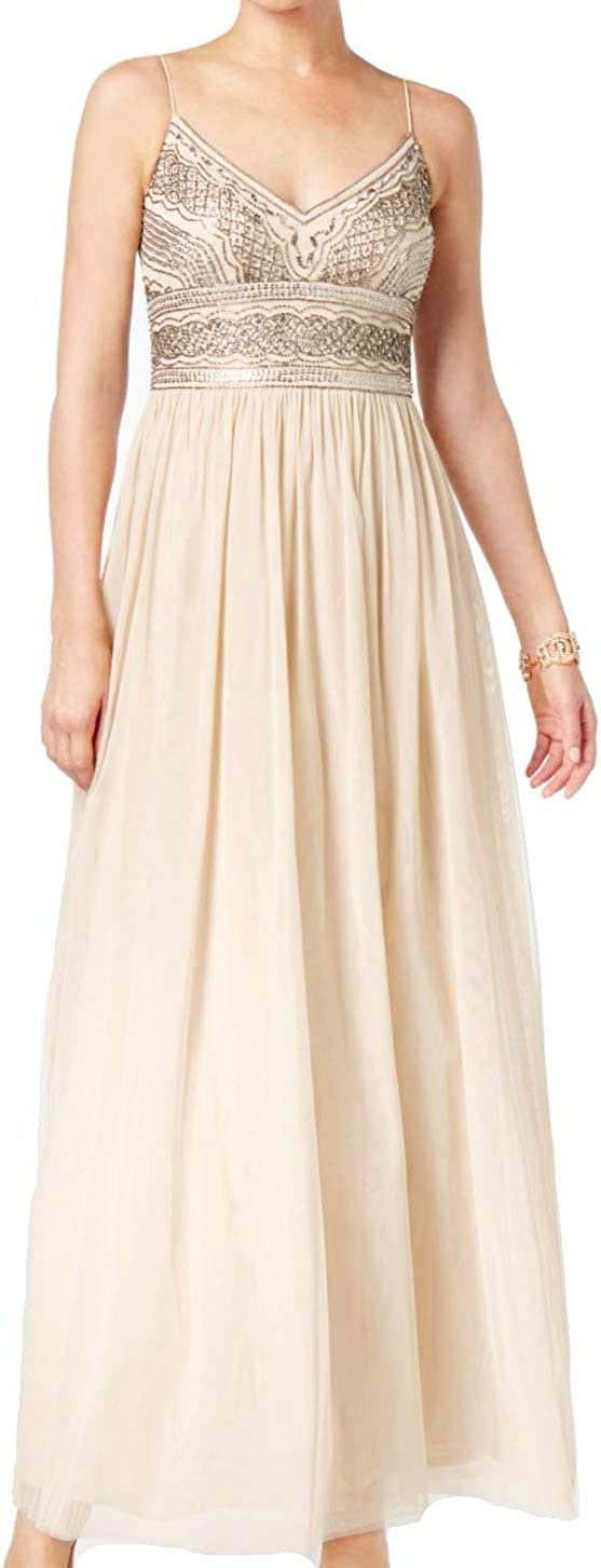 Adrianna Papell Women's Beaded Bodice Mesh Gown