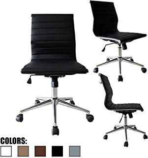 2xhome Modern Mid Back Office Chair Armless Ribbed PU Leather Swivel Tilt Adjustable Chair Designer Boss Executive Management Manager Office Conference Room Work Task Computer (Black)