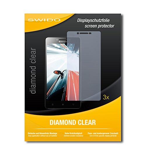 SWIDO 3 x Schutzfolie Lenovo A6000 Plus Bildschirmschutz Folie DiamondClear unsichtbar