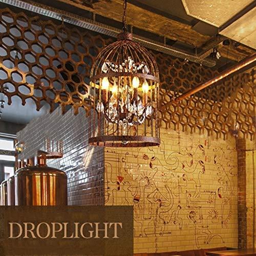 ShiSyan Lámparas Pendientes de la lámpara Pendiente de la Jaula de pájaro de Cristal lámpara de Hierro Forjado Rural Industrial Salón Dormitorio Restaurante Balcón Luces Lámparas de araña