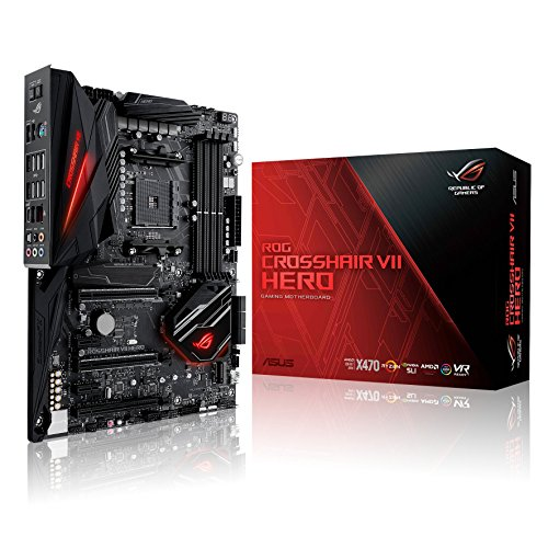 Asus CROSSHAIR VII HERO AMD AM4 X470 ATX - Placa base gaming con M.2 heatsink, Aura Sync RGB LED, DDR4 3600MHz, 802.11ac Wi-Fi, dual M.2, SATA 6Gb/s y USB 3.1 Gen 2