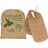 DeLaine's Exfoliating Body Scrubber - Natural Hemp Covered Sponges - Set of 2 To Double Your Pleasure - Luxurious Skin Care for Women and Men - Hygienic - Long Lasting - Extra Sudsy - Machine Wash