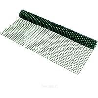 [pro.tec] Malla de alambre (cuadrados)(1m x 5m)(verde) valla de tela metálica 1 rollo de alambre para cercar