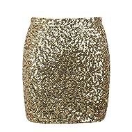 kayamiya Women's Sequin Mini Skirt Sparkle Stretchy Bodycon Party Club Short Skirts Nightout