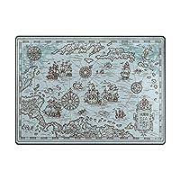 古い地図 ブルーラグ エリアラグ レジー アートワークコレクション リビングルーム、ベッドルーム、ダイニングルーム用 63 x 48 inch