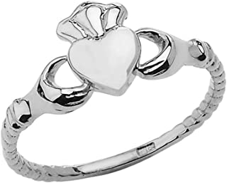 Dainty Sterling Silver Claddagh Rope-Style Ring