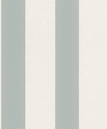 Vliestapete Streifen Gestreift weiß grau Tapete Rasch Prego 700220