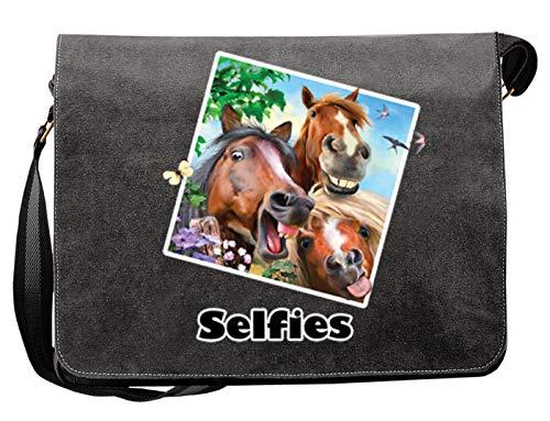 Selfie - Three Amigos Pferde Freunde Wiehern - Tasche Canvas als Geschenk Mitbringsel