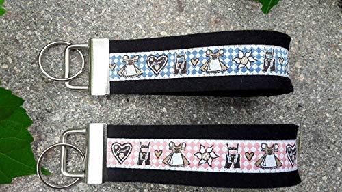 Schlüsselanhänger Taschenanhänger Wollfilz Trachten Duett bayrisch rosa blau Geschenk!