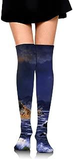 X-PEACH Paroxysmal Eruption Women Men Long Striped Socks Over Knee Thigh High Socks Stocking