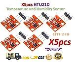 TECNOIOT 5pcs HTU21D Temperature and Humidity Sensor Module Temperature Sensor Breakout
