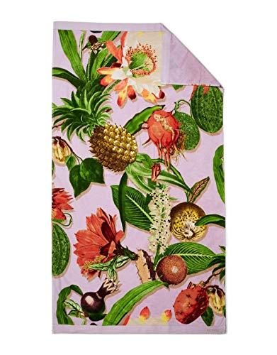 ESSENZA Toalla de playa Catherine Flores y Frutas de algodón orgánico (GOTS), lila, 100 x 180 cm