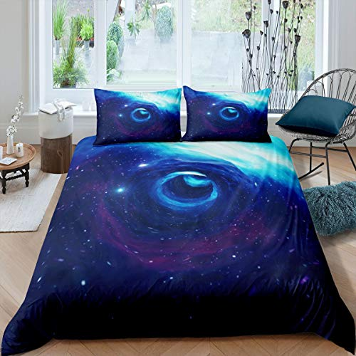 Juego de Ropa de Cama Galaxy 135x200cm Funda nórdica del Espacio Exterior para niños Niños Funda de edredón Azul Cielo Estrellado Universo Planet Swirl Funda de edredón 2 Piezas