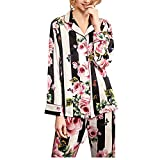 Valin Conjunto de pijama para mujer, 100% seda, parte superior y pantalones pirata, pijama de manga larga, 19 momme, pijama de seda T8184ZB, Rosa., 46