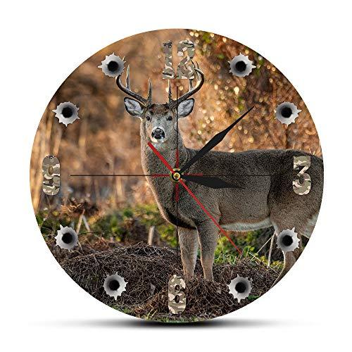 N /A Relojes de Pared Ciervo Hunter Cámara Sniper Big Buck Reloj de Pared Redondo Caza Decoración Fauna Animal Arte Elk Cabin Reloj de Pared Ciervo Caza Regalos Sin dañar el Medio Ambiente y la Salud