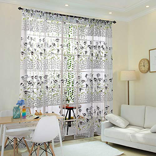 Alisy Flower Shower Curtain, Morning Glory Sheer Curtains Tulle Window Treatment Voile Drape Valance 1 Panel Fabric