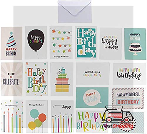 """Birthday Cards In A Box - 144 Happy Birthday Cards Assortment with Envelopes, 18 Colorful Designs for Men Women Kids Parents Employees, Bulk Box Set Variety Pack, 4 x 6"""""""