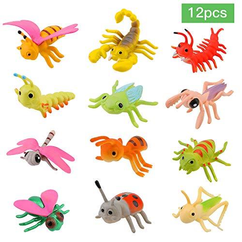 OOTSR - Paquete de 12 Insectos de plástico para Insectos Figuras para niños incluidos Insectos Variados y realistas 2-3''Insectos Falsos Bugs Favores Fiesta para niños Educación o Fiestas temáticas