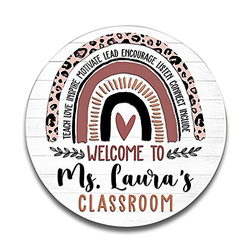 teacher sign for doors Personalized Welcome to Classroom Round Wood Sign,Heart Rainbow Door Hanger,Classroom Door Sign,Teacher Appreciation Gift Teacher Welcome Sign, Classroom Decor, Round Wood Sign