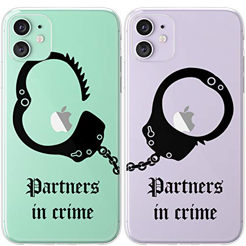 Mertak TPU Couple Cases Compatible with iPhone 12 Pro Max Mini 11 SE Xs Xr 8 Plus 7 6s Quote Handcuffs Girlfriend Cover Boyfriend Protective Soulmate Cute Partners in Crime Black Best Friend Matching