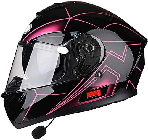 XWW Casco Bluetooth para Motocicleta, de Cara Completa, Modular, Doble, para el Sol, abatible hacia Arriba, Frontal, Reflectante, de Seguridad, para choques, para Hombres y Mujeres Adultos, apro
