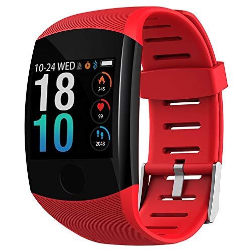 Mnbf Reloj inteligente impermeable, pulsera de fitness, pantalla táctil grande, mensaje recordatorio de corazón, frecuencia y tiempo, pulsera inteligente (rojo)