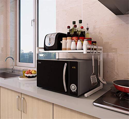 Kalavika - Mensole per forno a microonde, estensibili (40 – 60 cm), in metallo, multifunzione, scaffale con 3 ganci portaoggetti