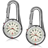 2 Pieces Clip-on Quartz Watch Backpack Fob Belt Watch Glow in The Dark Unisex Pocket Watch with White Dial for Doctors Nurses Outdoor Activities (Silver)