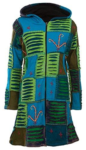 Michael Heinen Patchwork-Mantel | Hippie-Mantel | Model Long Coat | Innenfutter aus Fleece | Damen | Goa-Jacket | Cutwork | Kapuzen-Sweatmantel | Individuell | Handarbeit aus Nepal
