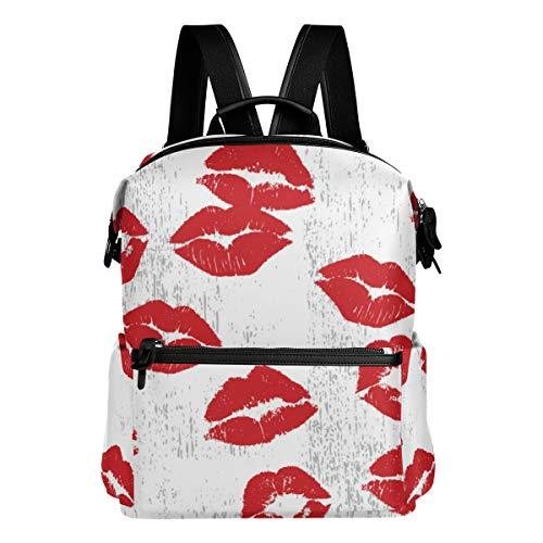 KIMDFACE Rucksack,Hintergrundbild von Lippenstiftkuss wiederholen,Laptoptaschen Casual Print Umhängetasche Student Daypack Reisen Wandern Camping Packs(29 * 16 * 38 cm)