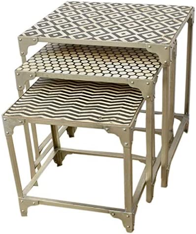 Best Hilo Black & White Patterned Faux Stone Nesting Tables with Silver Base. Purposefully Antiqued.
