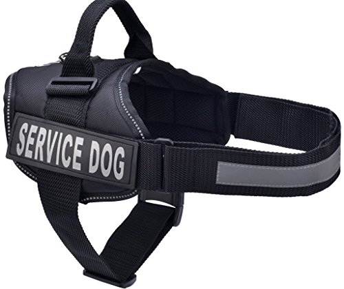 BINGPET Nylon Comfort Reflective Service Dog Harness Adjustable Vest Come with 2 Removable Patches Black Small