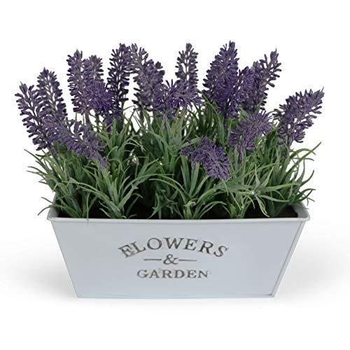 Wrenbury Artificial Lavender in Metal Pot, Lavender Plant| Artificial Lavender Flowers Fake Flowers Artificial Potted Flowers | Faux Plants for Indoor Home Decoration