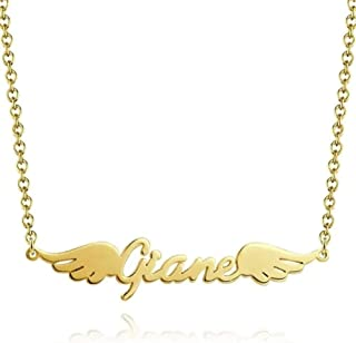 Personalized Name Necklace Angel Wings Necklace by 925 Sterling Silver Gift for Women(18K Gold Plated)