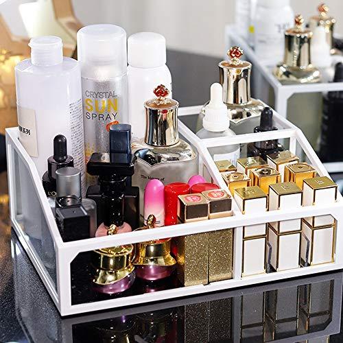 Queta Transparente Organizador de Maquillaje, Acrílica Transparente Caja, se Adapta a Joyas, cepillos, Barras de Labios y cremas, Almacenamiento de Cosméticos con Capacidad de 3 cuadrículas