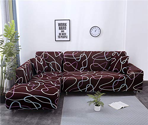 Sofabezug Sofaüberwürfe Hussen,Stretch Sofa Cover All-Inclusive City Stil Couch-Abdeckung, Universal Corner Slipcover L Form Kombiniert Rutschfest Einfache Möbel-Beschützer, 3, Sitzer 195,230Cm