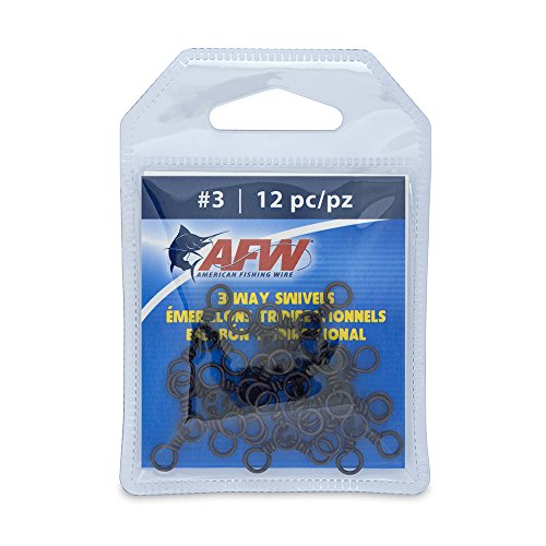 American Fishing Wire Brass 3-Way Swivels with Stainless Steel Rings (12-Piece), Black, Size #1/0