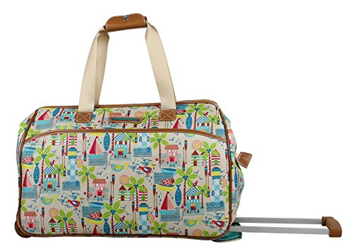 Lily Bloom Luggage Designer Pattern Suitcase Wheeled Duffel Carry On Bag (22in, Beach House)