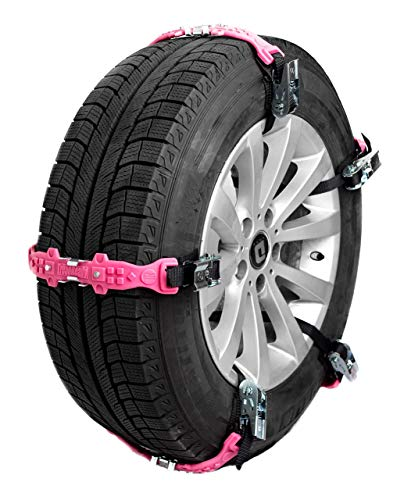 TreadReady Adirondack Strap (Pink) AS10PG1 Easy Install Tire Chain Alternative, Passenger Car Traction Device, Universal Security Cables, Adjustable Anti-Skid, Snow, Sand, and Mud- Set of 10