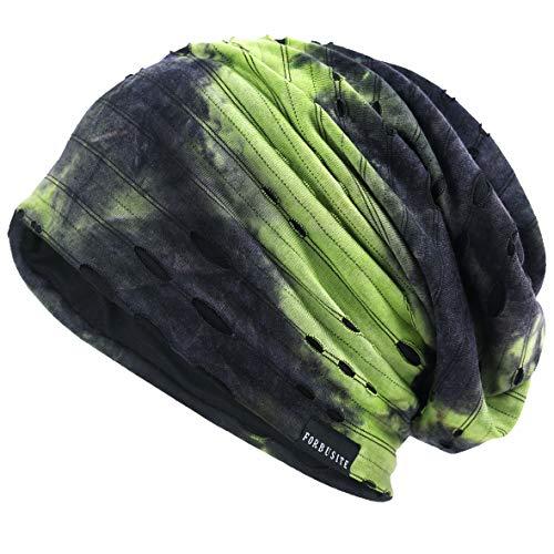 VECRY Herren Jersey Slouch Mütze Sommer Skullcap (B-Grün, Dünn Cool)