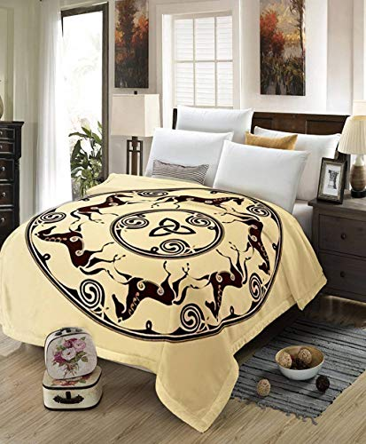 Celtic Blanket,All Season Lightweight Plush and Warm Home Cozy Portable Fuzzy Throw Blankets for Couch Bed Sofa,Ancient Celtic Symbol of Horses in Circle,60'x80'