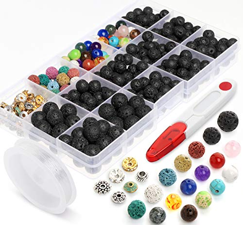 Lava Beads Stone Rock 8mm 10mm 400pcs Kit with Chakra Bead and Spacer Beads for Essential Oils Jewelry Bracelets Making