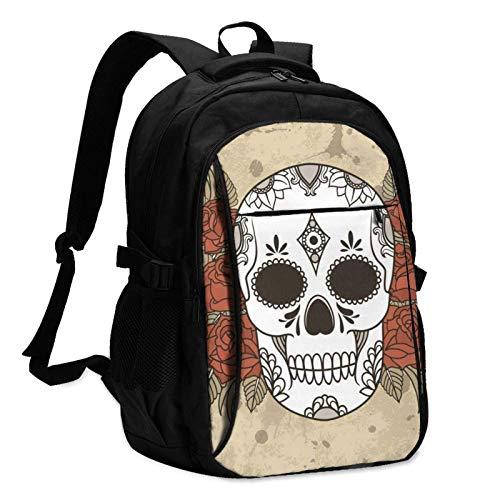 XCNGG Mochila USB con múltiples Bolsillos, Mochila Informal, Mochila Escolar Mexican Sugar Skull Roses Unisex Travel Laptop Backpack with USB Charging Port School Anti-Theft Bag