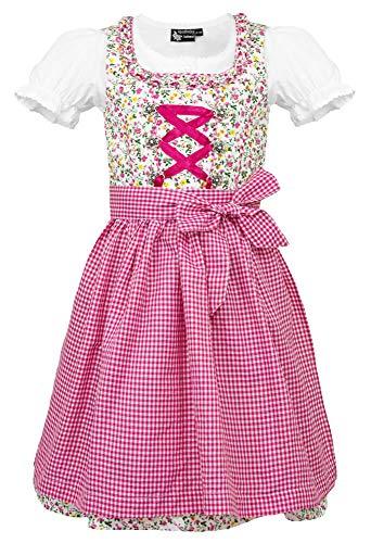 Maddox Dirndl Zillertal voor kinderen, bloem roze, 3-delig Bloemetjes klederdrachtset voor meisjes jurk schort blouse