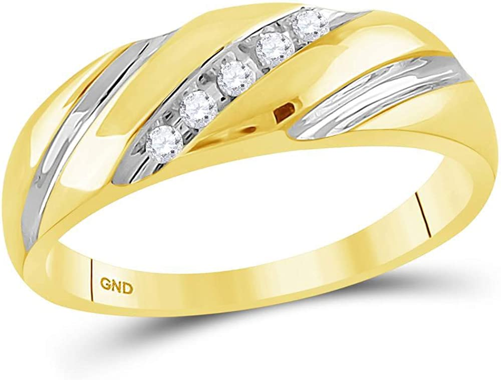 14kt Two-tone Gold Mens Round Diamond Wedding Band Ring 1/10 Cttw, Color- J-K, Clarity- I2-I3