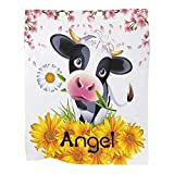 Personalized Cow Sunflower Cherry Blossom Baby Blanket with Name Custom Throw Blanket for Newborns,Infants Swadding Blankets for Boys &Girls Shower Birthday Gift 30 X 40 inches